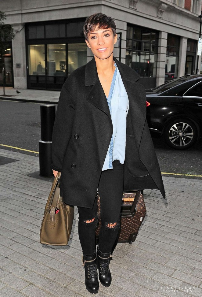 Frankie Bridge in Ripped Jeans at BBC Radio 1 Studios in London