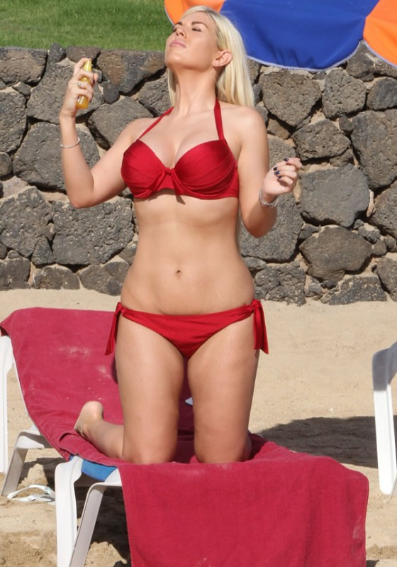 Frankie Essex wearing bikini on the beach in Marbella, Spain