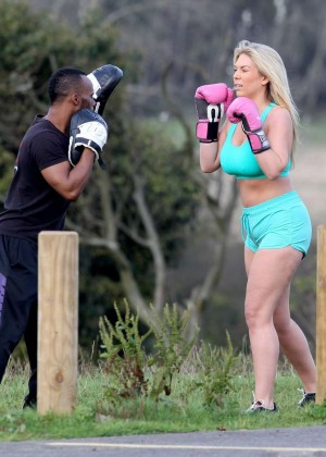 Frankie Essex in Shorts and Sports Bra Working Out -01