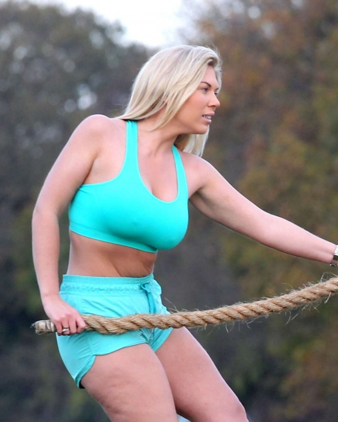 Frankie Essex in Shorts and Sports Bra Working Out In Gruelling Park
