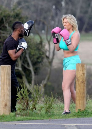 Frankie Essex in Shorts and Sports Bra Working Out -12