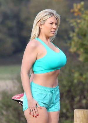Frankie Essex in Shorts and Sports Bra Working Out -15