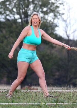 Frankie Essex in Shorts and Sports Bra Working Out -16