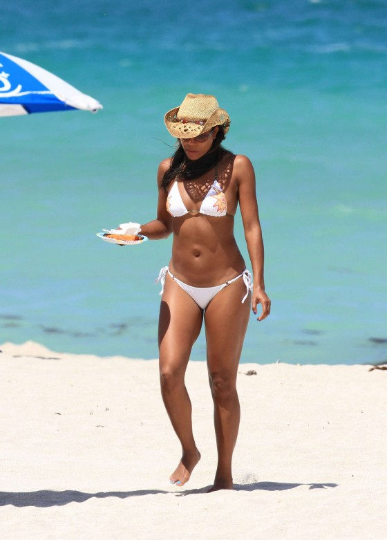 Gabrielle Union In a hot white Bikini at the beach in Miami