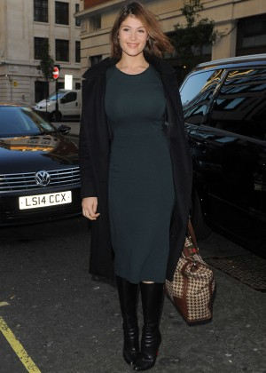 Gemma Arterton in Green Tight Dress at BBC Radio 1 in London