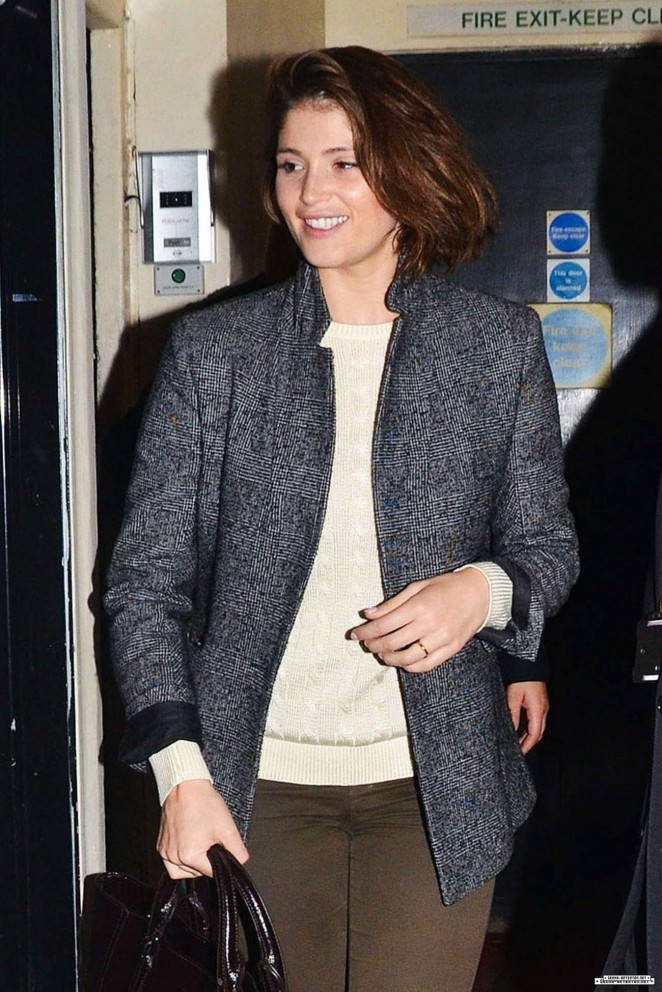 Gemma Arterton at the Stage Door of the Adelphi Theatre in London