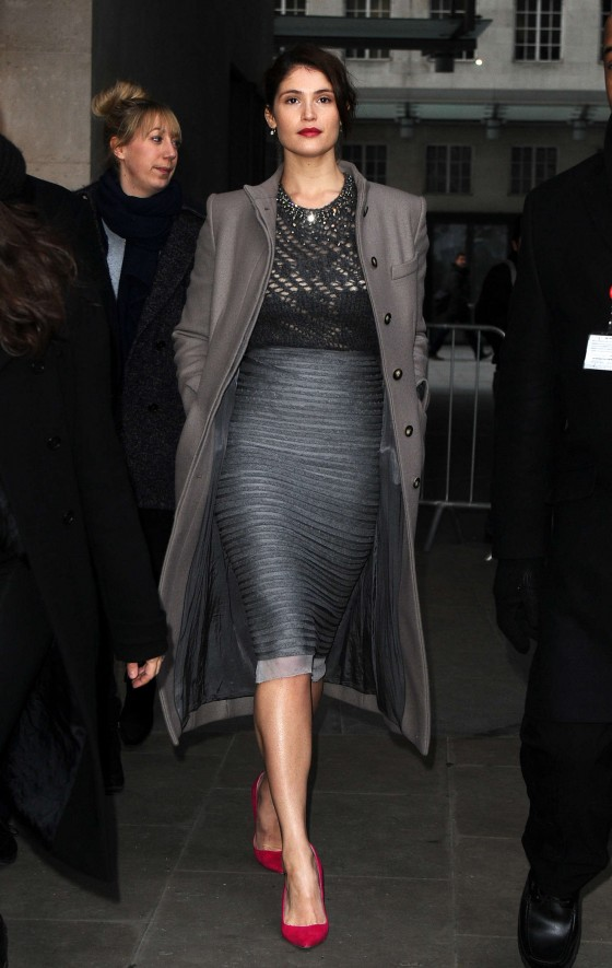 Gemma Arterton In Skirt At the BBC Radio One studios-01