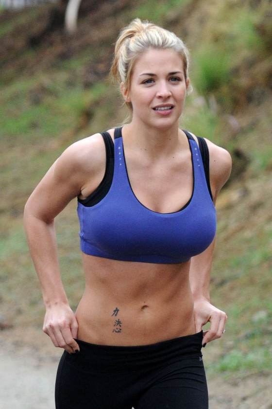 Gemma Atkinson - Lycra Top & Leggings - Training in Hollywood Hills