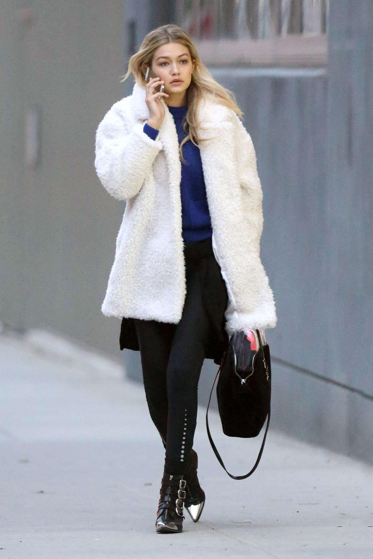 Gigi Hadid in Mini Skirt at Tribeca Photo Studio in NYC