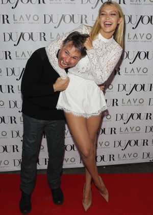Gigi Hadid Hot in White Mini Dress at DuJour Magazine celebrates Kendall & Kylie's Bruce Weber shoot in NYC