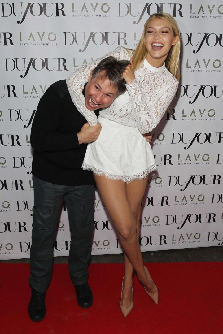 Gigi Hadid Hot in White Mini Dress at DuJour Magazine celebrates Kendall & Kylie's Bruce Weber shoot in NYC