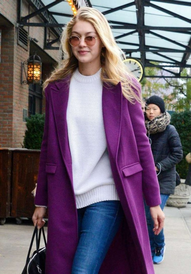 Gigi Hadid in Pink Caot - Out for lunch in NYC