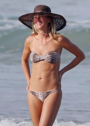 Gisele Bundchen in Leopard Print Bikini on the Beach in Costa Rica