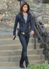 Grace Park in a tights filming Hawaii Five-0 in Oahu