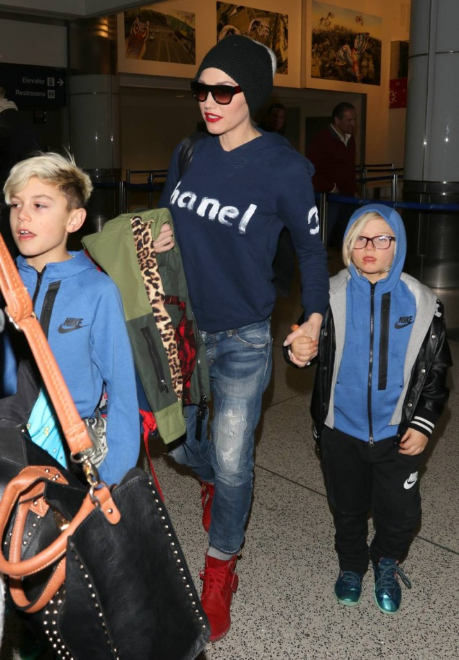 Gwen Stefani with her kids Arrives at LAX Airport in LA