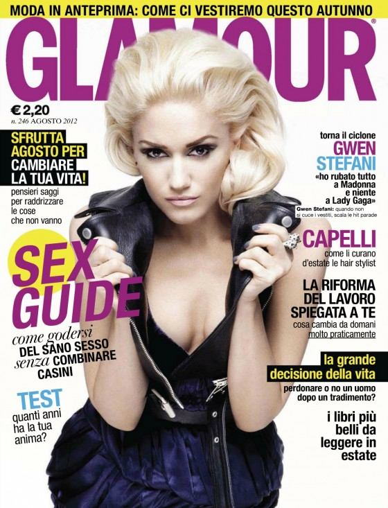 Gwen Stefani shows cleavage for Glamour Magazine Italy August 2012