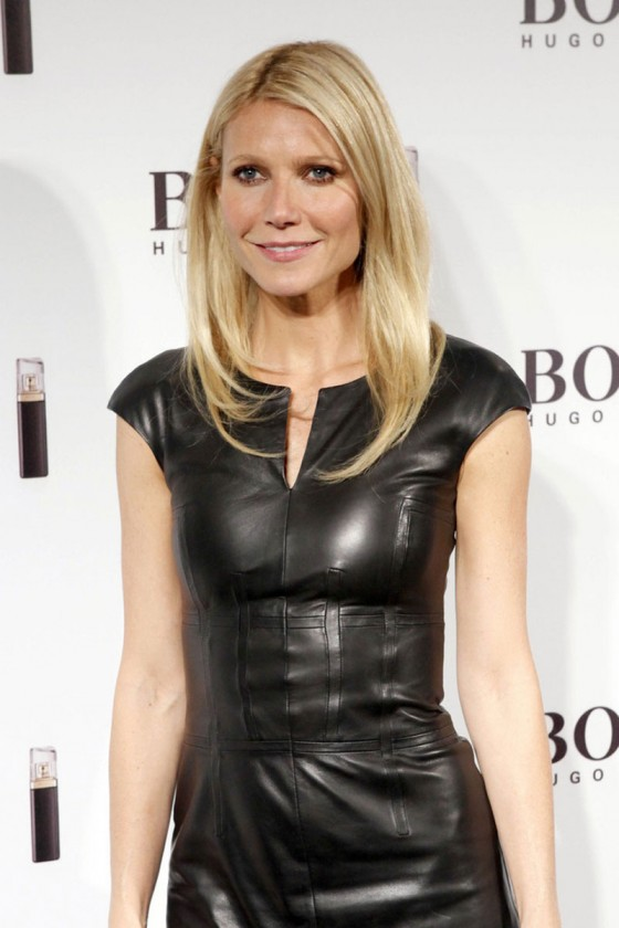 Gwyneth Paltrow - Wears Black Leather Dress at 2012 Hugo Boss Show