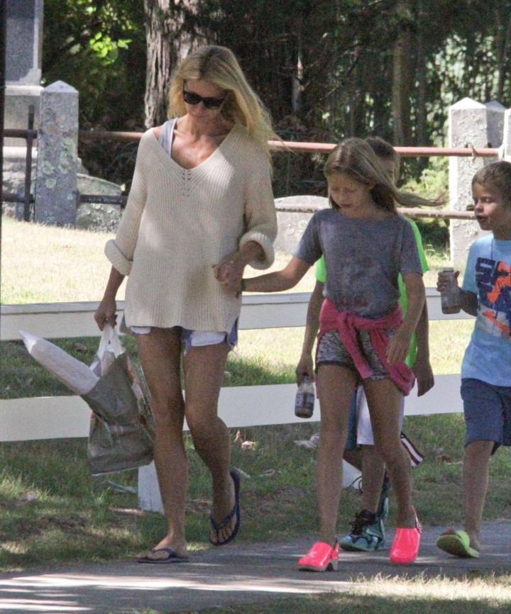Gwyneth Paltrow in shorts at breakfast in the Hamptons