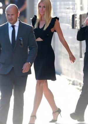 "Gwyneth Paltrow in Black Mini Dress at ""Jimmy Kimmel Live!"" in Hollywood"