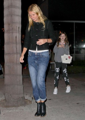 Gwyneth Paltrow in Jeans Leaving at Katsuya Restaurant in Los Angeles