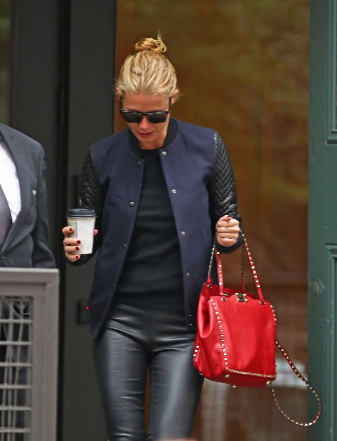 Gwyneth Paltrow in Leather Pants Leaving her Apartment in New York