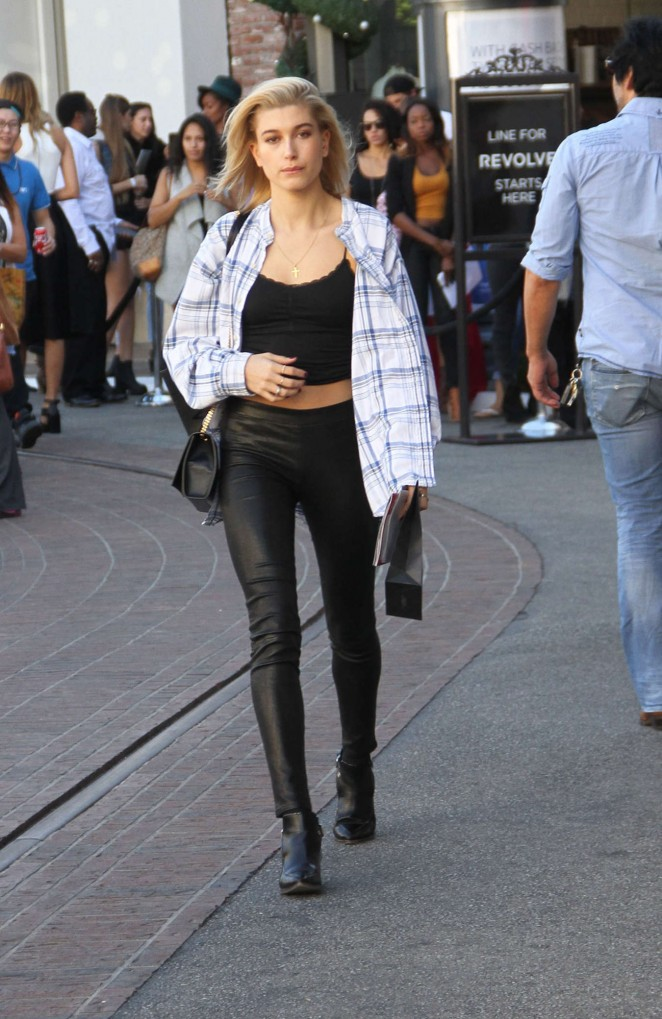 Hailey Baldwin in Leather Leaves Barney's New York