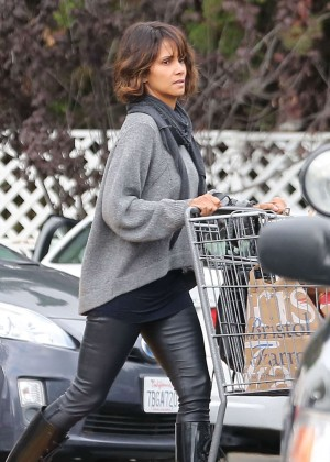 Halle Berry in Leather Shopping at Bristol Farms in Beverly Hills