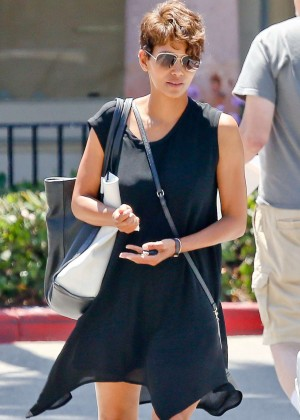 Halle Berry in Short Dress Visiting a local nail spa in Malibu