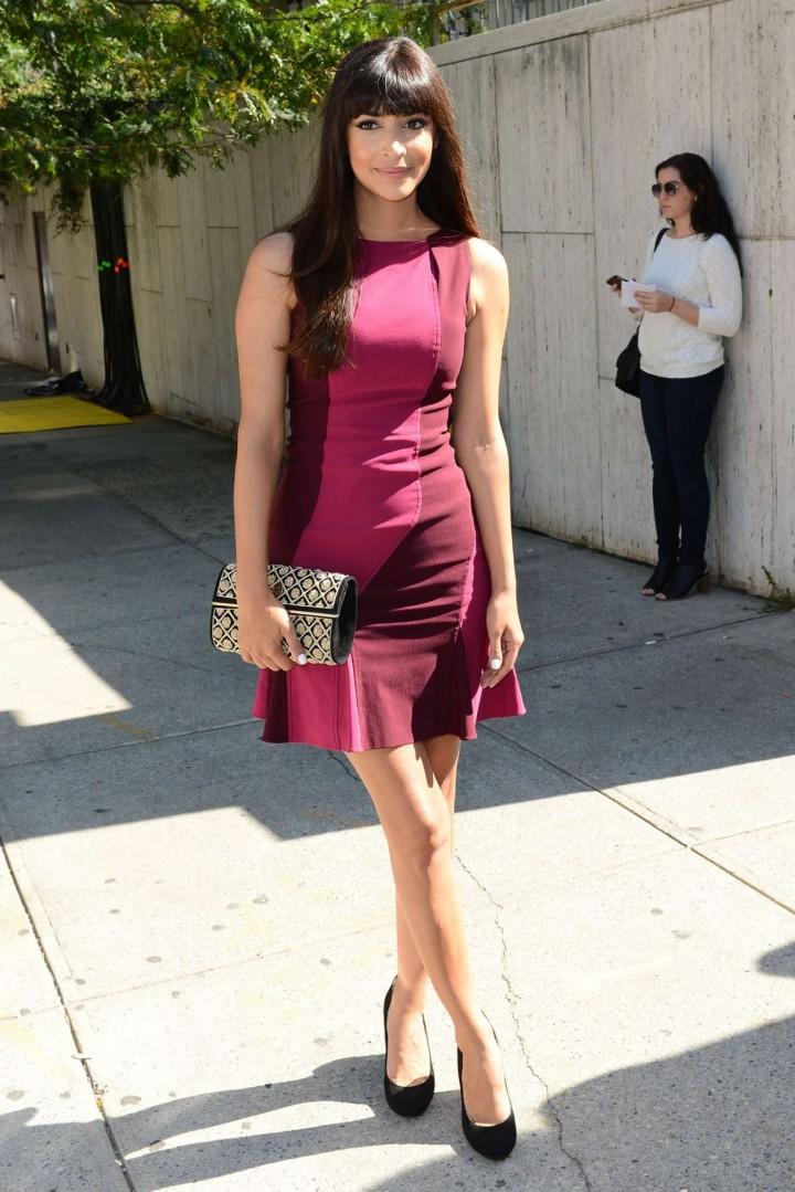 Hannah Simone in Mini Dress at BCBG Max Azria Show in NYC