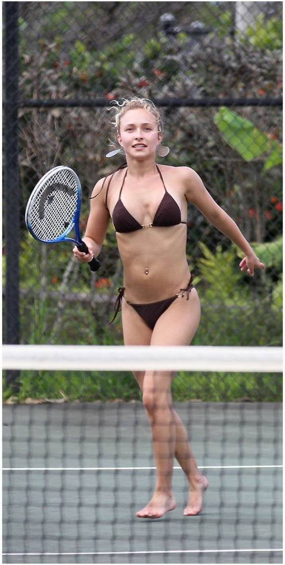 Hayden Panettiere Playing Tenis in a black bikini in Hawaii - April 2012