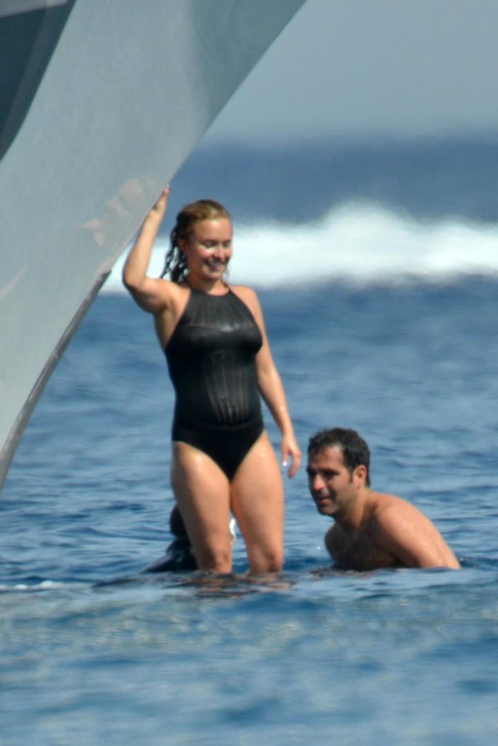 Hayden Panettiere Wearing swimsuit on Yacht in St Tropez