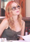 Heather Graham showing cleavage at a restaurant in Los Angeles