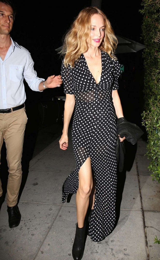 Heather Graham in Long Dress Leaving Mr. Chow in Beverly Hills