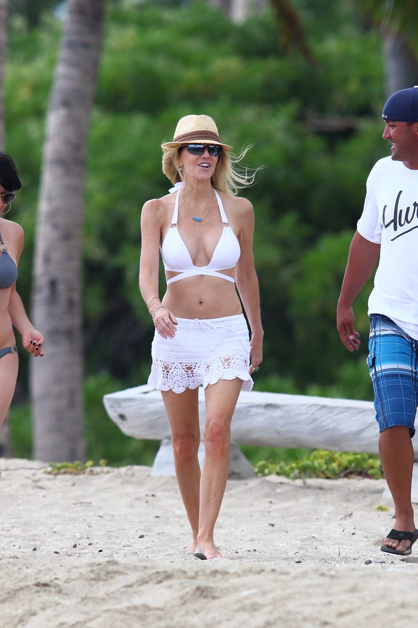 Heather Locklear Wearing A White Bikini Top In Hawaii
