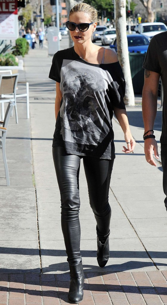 Heidi Klum in Leather Pants out in Brentwood - 01/20/13
