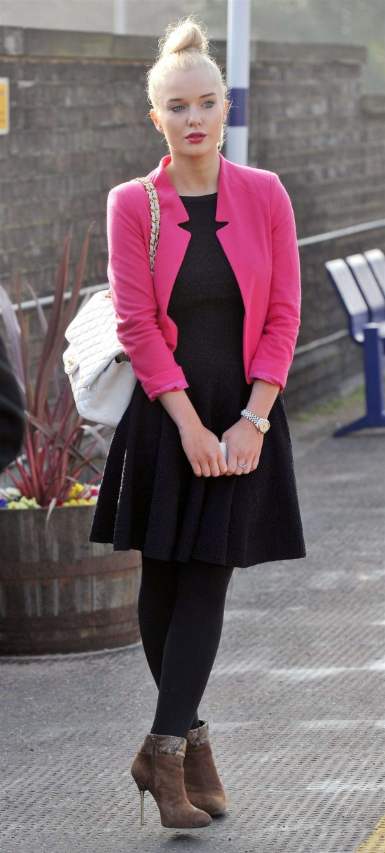 Helen Flanagan - In Pink Waiting to board a train -25
