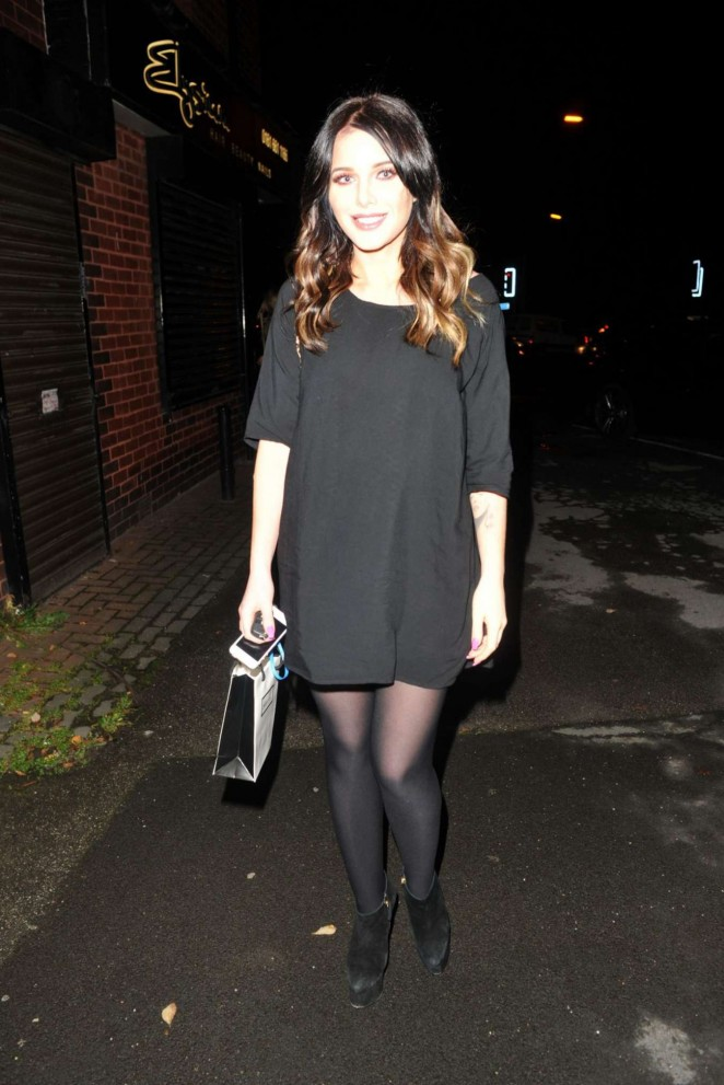 Helen Flanagan in Black Mini Dress - Visits Hair Salon in Manchester