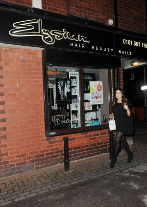 Helen flanagan in black mini dress visits hair salon in for Beauty salons in manchester