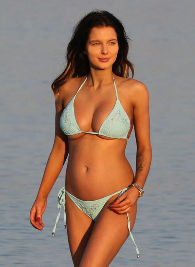 Pregnant Helen Flanagan in Blue Bikini in Dubai
