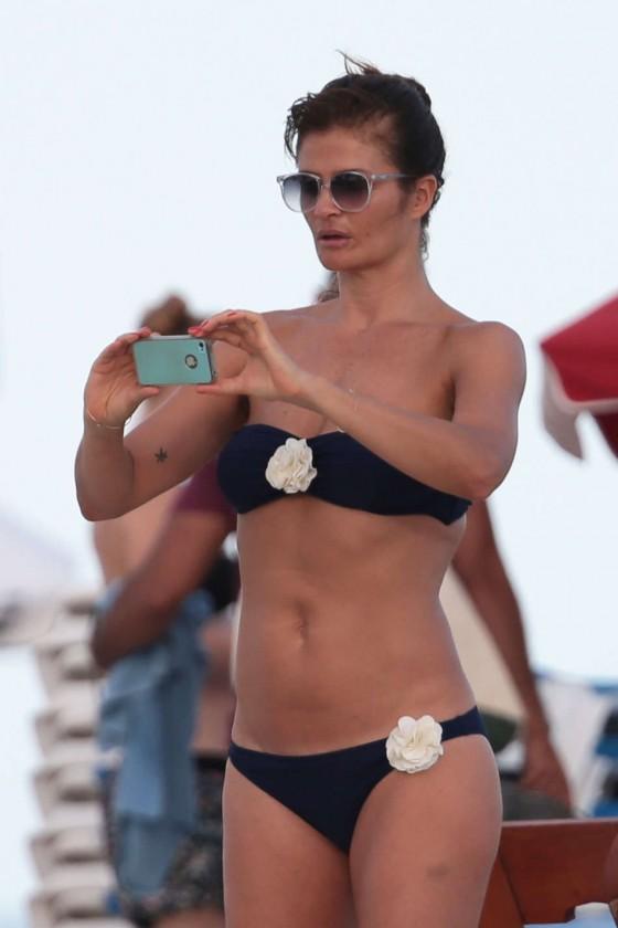 Helena Christensen Wearing Black Bikini on Miami Beach