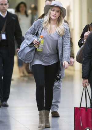 Hilary Duff in Leggings Arriving at JFK airport in New York