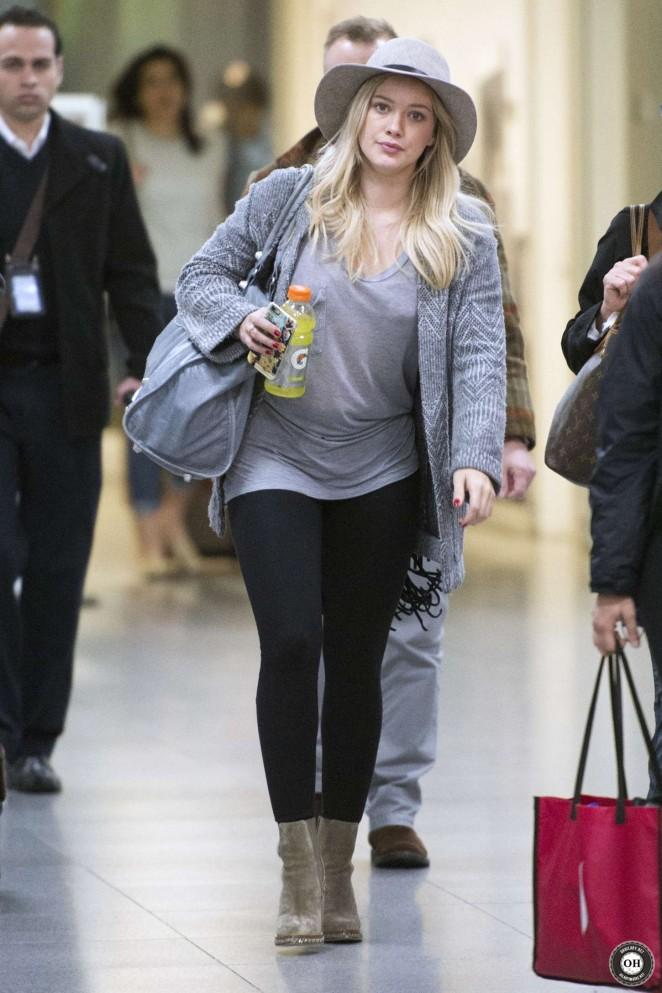 Hilary Duff in Leggings Arriving at JFK airport in New York