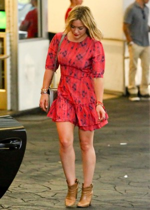 Hilary Duff in Red Dress at E Baldi Restaurant in Beverly Hills