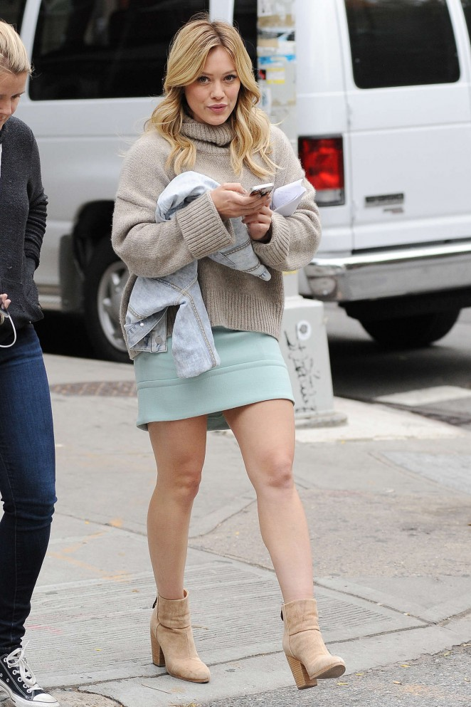 Hilary Duff in Mini Skirt Filming 'Younger' set in Brooklyn