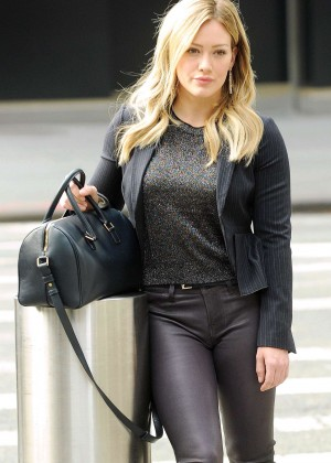 Hilary Duff in Leather Pants on the set of 'Younger' in NYC