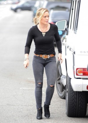 Hilary Duff In Tight Pants going to a party in Sherman Oaks