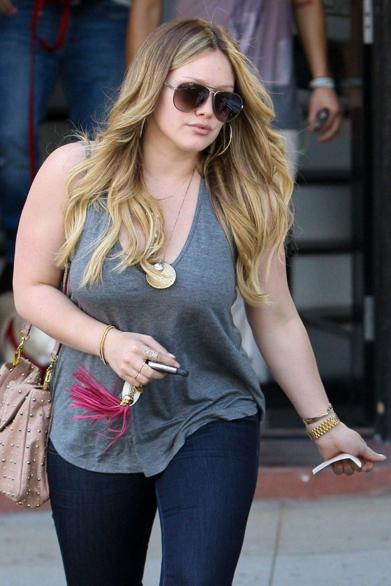 Hilary Duff Jeans candids At Nine Zero One Salon