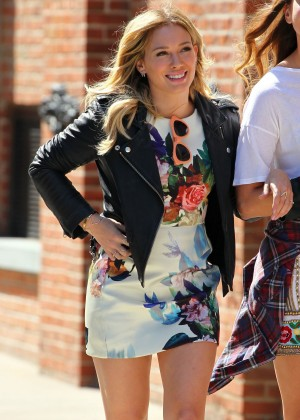 Hilary Duff in Mini Dress on the Set of Younger in New York