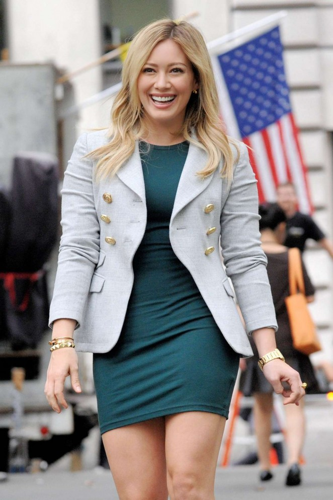Hilary Duff in Green Mini Dress on the set of 'Younger' in NYC