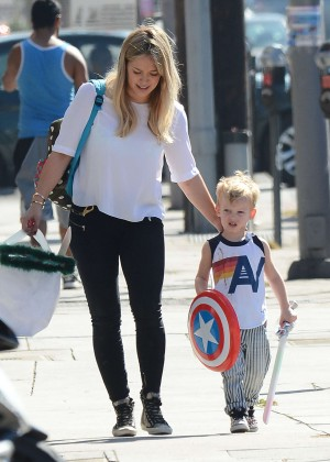 Hilary Duff in Tights out with her son in LA